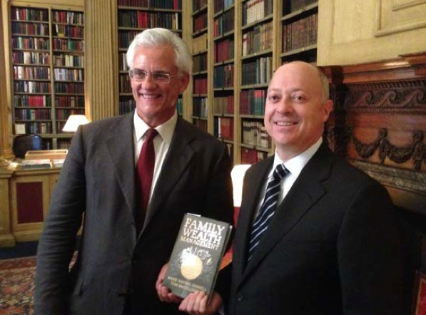Authors Mark Daniell and Tom McCullough at the pre-launch celebration of their new book Family Wealth Management in the Library of the Travellers Club, London, UK, September 19, 2013.