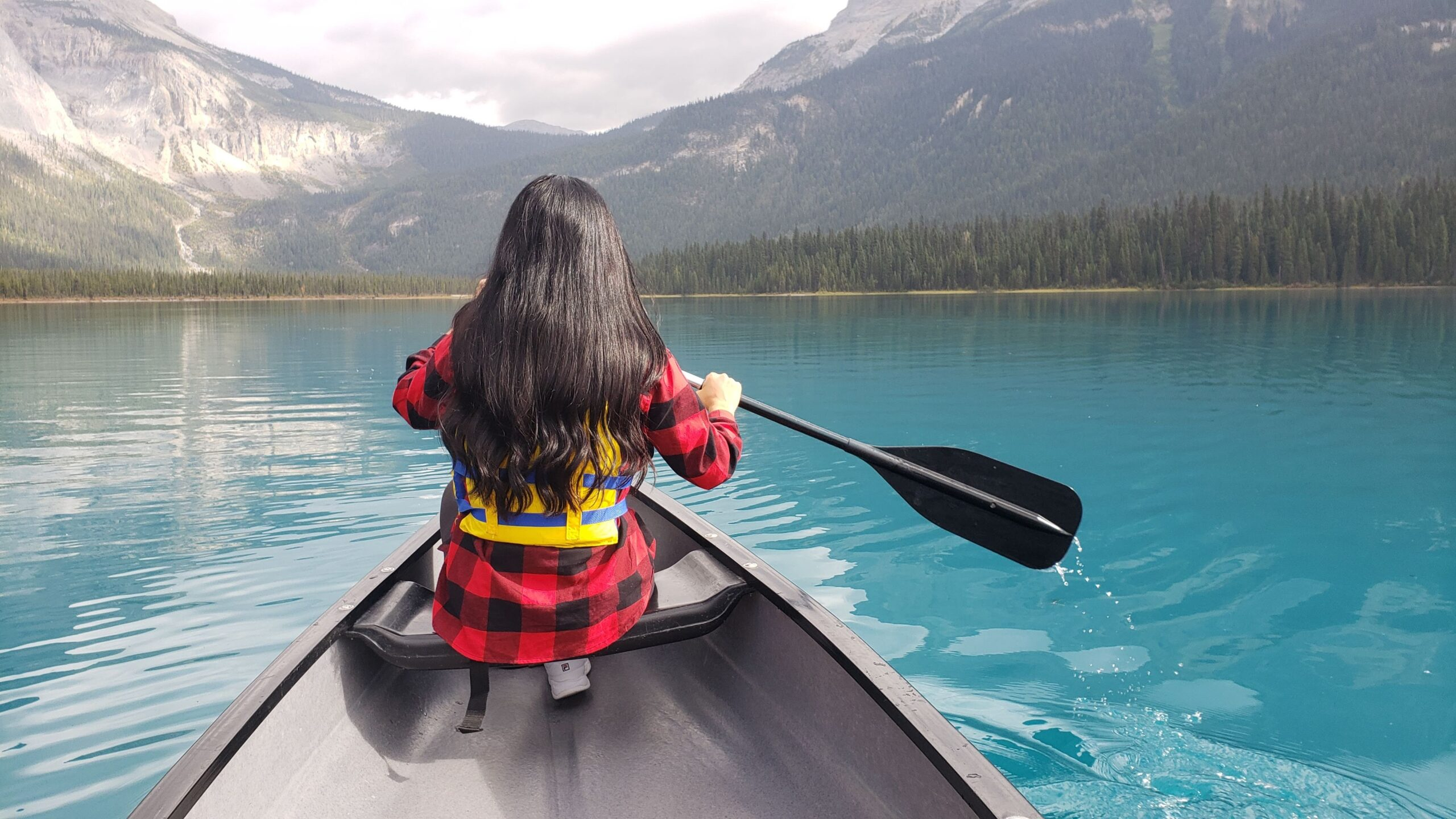Nicole Canoeing at Emerald Lake